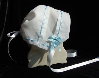 Heirloom handkerchief baby bonnet is 100% HEMSTITCHED LINEN with BLUE ribbon border hanky bonnet Magic Keepsake Christening baby bonnet