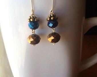 Royal Blue and Gold Handmade Dangle Earrings