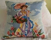 Pillow cushion cover Vintage upcycled cross stitch, vintage cross stitch panel depicting lady with umbrella and flower basket.