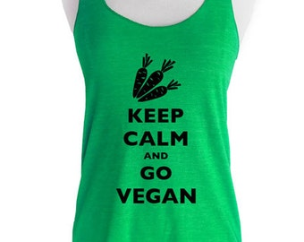 Keep Calm And Go Vegan Soft Tri-Blend Racerback Tank