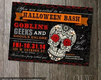 Halloween Party Invitation | Sugar Skull Invite | Day of the Dead | Digital Invitation