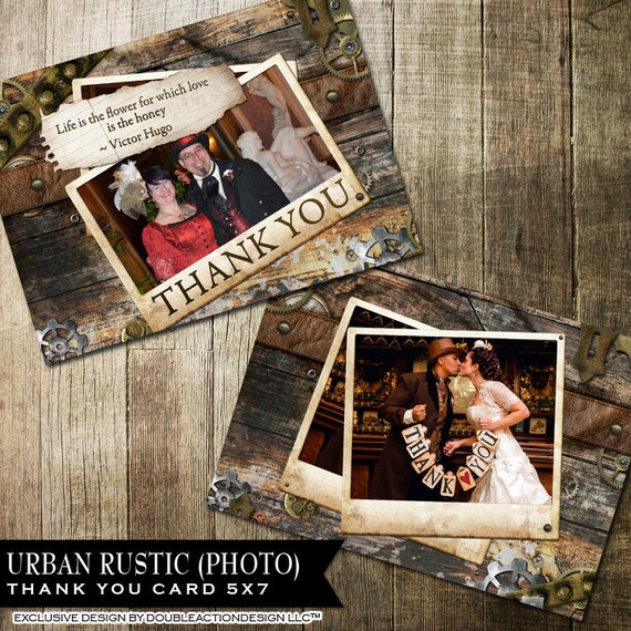 Rustic Photo Thank You Cards, Printable Thank You Card With gears and lether, DIY Thank You Cards | Steampunk Thank You