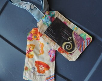 luggage tag kit with summer vaccation fabric