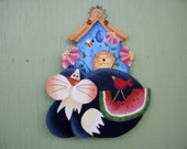 Home Decor, Wall Decor, Wall Hanging, Decorative Tole Hand Painting Wood Cartoon Cat Birdhouse Watermelon Flowers Bee Art Collectibles