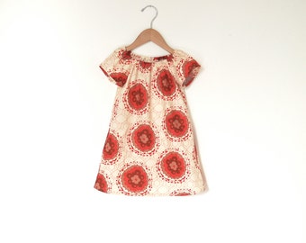 Girls Peasant Dress / Red Cream and Brown Floral Medallions / Ready to Ship / sz 6-12 months of 18-24 months