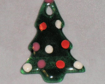 Fused Glass Tree Ornament - Transparent Green with Dots