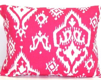 PINK Lumbar.Pillow.12x20 16x20 or 16x24 inch Decorative Lumbar Pillow Cover.Home Decor.Housewares.Pink Pillow.Ikat.Pink Decor.Pink Lumbar.Cm