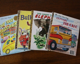 Vintage Little Golden Books / Set of four books / Bullwinkle / Lets Go Trucks / The Saggy Baggy Elephant /The Taxi That Hurried