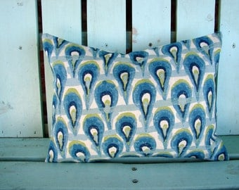 New 12x16  blue, aqua, navy, Ikat  print designer fabric- decorative pillow cover-throw pillow-accent pillow