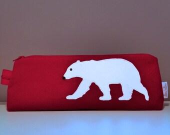 Polar Bear Pouch  Pencil case  Make up bag  Zipper pouch