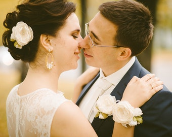 Bridal fabric flower brooch, Bridal flower set,Bridal sash flower, Floral wedding, Bridesmaid accessorie, Summer wedding, Grooms corsage