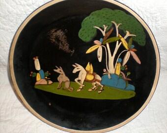 Large Black Tlaquepaque Plate