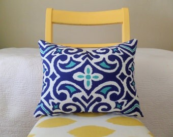 Navy, Turquoise, and White Ikat Damask Zippered Pillow Cover