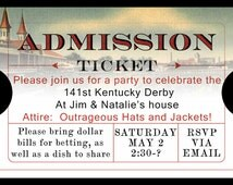 Party Invitations Ticket Style any theme Derby, Oscars, Digital or printed available