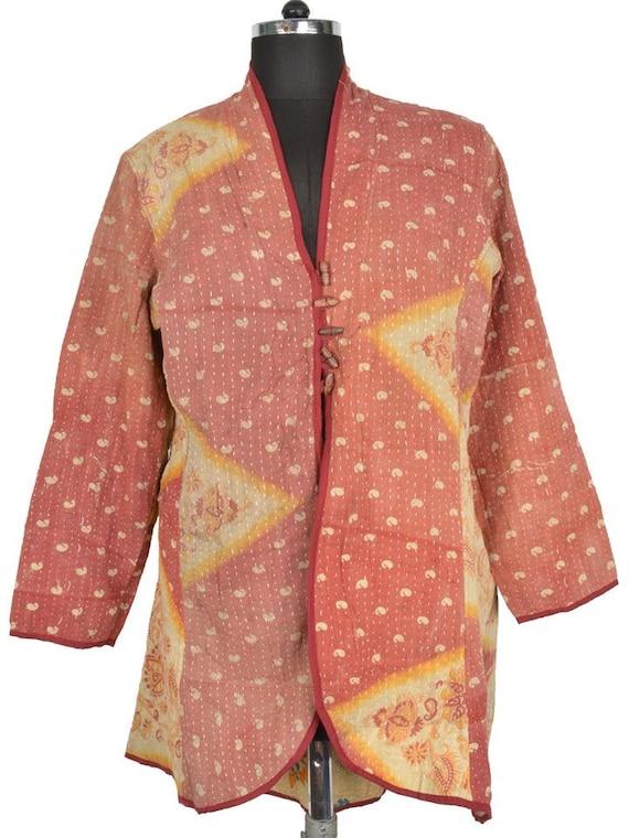 Xl vintage kantha long jacket reversible by banjaratribalart