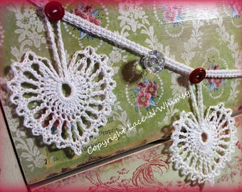 Wedding Anniversary Crochet Pattern Vintage Lace Heart Doily Garland 50th 25th 1st