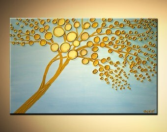 "Gold Blooming Tree Painting Abstract Landscape Heavy Texture by Osnat - MADE-TO-ORDER - 36""x24"""
