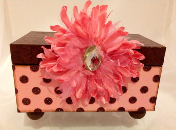 Pink and Brown Polka-Dots Decorative Box  With or without bow!  ONLY 1 LEFT!