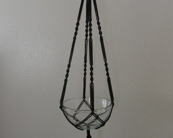 """Hand Crafted Macrame Plant Hanger- Black 42""""-45"""" (Available in all colors)"""