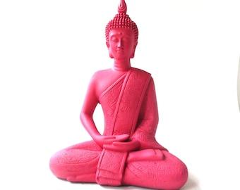 hot pink buddha statue, bohemian home decor, upcycled, buddha art, sitting buddha
