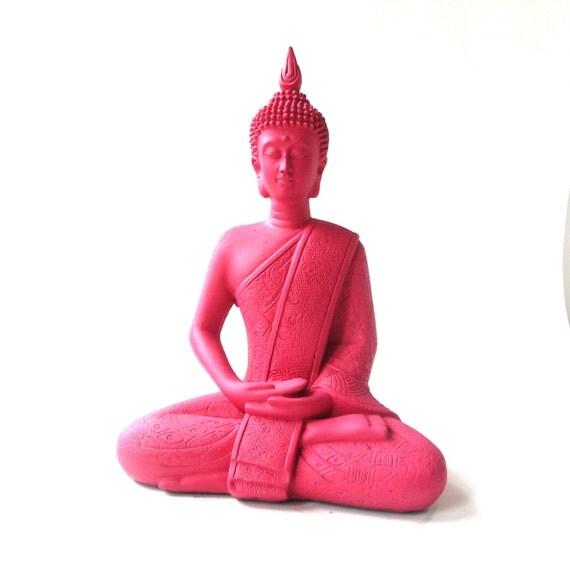 Hot Pink Buddha Statue Bohemian Home Decor Funky By Nashpop