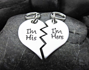 Couple's Keychains - Couple's Necklaces - His and Hers - I'm his - I'm hers - Broken Heart