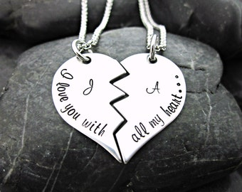 I love you with all my heart - Couple's Necklace - Personalized - Initials - Broken Heart