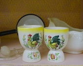 Vintage Rooster Eggcups Prairie Farmhouse French Chic
