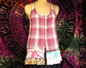 Clearance Size S Plaid Racerback Top Boho Gypsy Hippie Upcycled Upscaled Altered Clothing Eco Chic