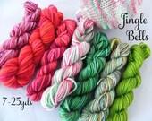 SALE  Jingle Bells    - 7 Sock Yarn Mini Skeins -  25 yds each, 175 yds total