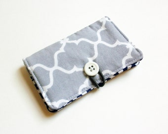 Grey Aztec Geometric Fabric Business Card Holder, with White Dots on Navy - Credit Card Holder, Cloth Card Holder, Gift Card Holder