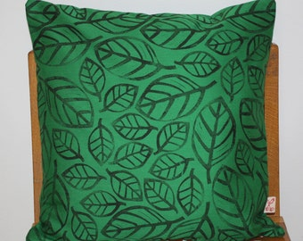 Fallen leaves Hand block printed decorative scatter cushion cover in green