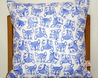 Cape Jackal Fox Hand block printed decorative scatter cushion cover in Ultramarine on white