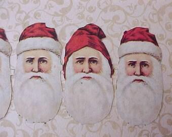 6 Darling Vintage Santa Claus Head Scraps