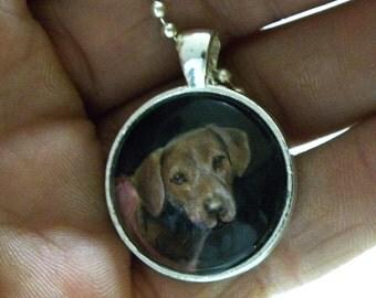 Miniature Painting Custom Pet Portrait Pendant Necklaces-Dogs-Cats-Horses-Animals-Pet Memorial
