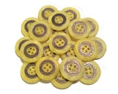 "8 Large Yellow Swirled Buttons with Bronze Filigree Designs -  size 15/16"", 24mm, 38L, 4 hole buttons"