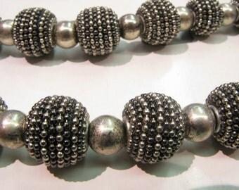 16mm Beaded Bead, Large Hole Metal Beaded Bead, Silver Plated Base and GunmetalMetal Beaded Bead