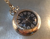 Pocket Watch, Gothic Heart Style Pocket Watch, Mechanical Pocket Watch