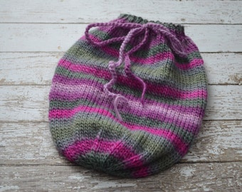 Knitted Newborn Swaddle Sack Soft Yarn Photo Prop Purple Pink Green