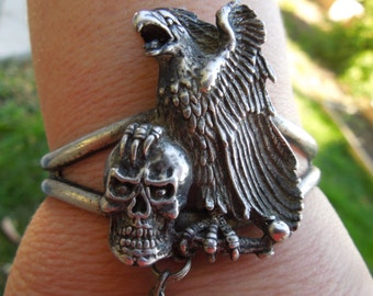 Slave Bracelet with Ring Silver Cuff Bracelet with Eagle and Skull attached to Ring Goth Biker