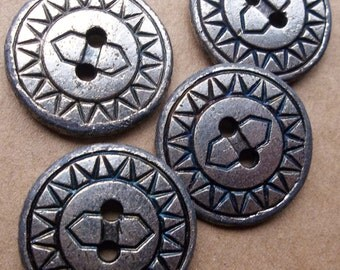 eco friendly abstract ethnic sun god muted silver tone heavy metal buttons--matching lot of 4