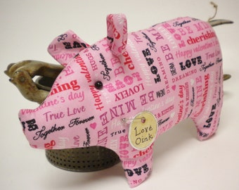 Primitive Valentine Pig - Made To Order, Pink Valentine Fabric Pig, Country Farmhouse Decor
