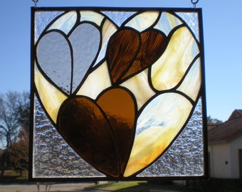 Amber and Brown Stained Glass Heart-Shaped Panel