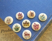 """12 pcs Castle Fairy Tale Assorted Pattern Childrens Girl Buttons 18mm 6/8"""" (SC2250)"""