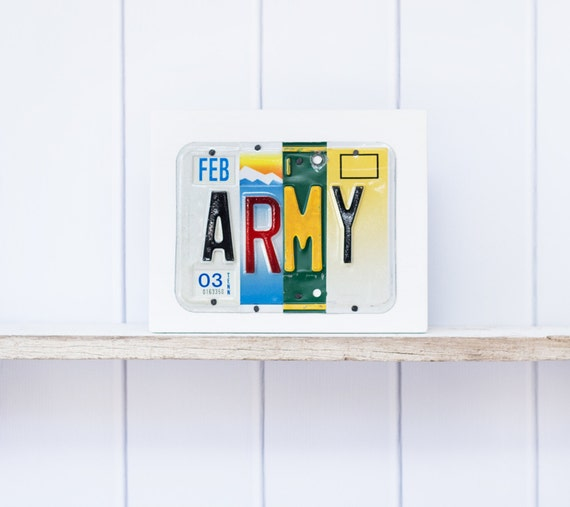 ARMY License Plate Art - Father's Day gift - Office decor -  gift for Soldier -  Active Duty soldier - Retirement gift - gift for Veteran