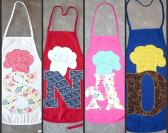 Toddler-sized Apron - boy or girl - CHOOSE LETTER & FABRIC!  Custom made appliques.