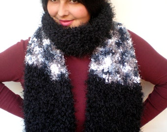 Black and variegated Fluffy Scarf Soft   Big  Neckwarmer Women Fashion  Chunky  Knit  Scarf NEW