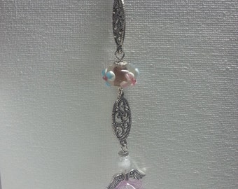 Metal bookmark with purple glass beads