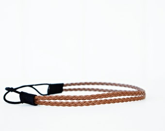 Brown Braided Leather Double Strand Headband