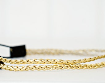 Gold Braided Leather Double Strand Headband